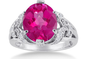 6 Carat Oval Shape Pink Sapphire & Diamond Ring in 14K White Gold,  by SuperJeweler
