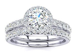 1ct Diamond Bridal Set in 14k White Gold