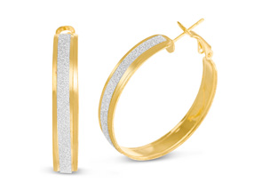 Shimmering Gold Hoop Earrings, 1 Inch