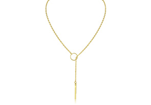 Bar and Circle Lariat Necklace, Yellow Gold
