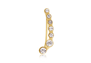 Gold Crystal Ear Pin Crawler