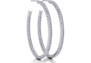 1ct Diamond Hoop Earrings in 14k White Gold
