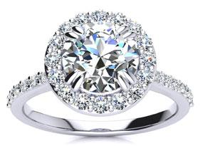 2 CARAT HALO DIAMOND ENGAGEMENT RING IN 14K WHITE GOLD