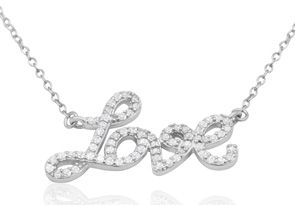 1/2 Carat Diamond Love Necklace, Sterling Silver, 18 Inches