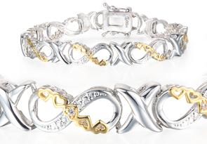 1/10 Carat Diamond Heart Infinity Bracelet
