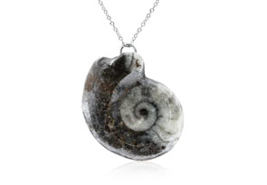 Natural Marble Granite Swirl Necklace With Sterling Silver Chain, 18 Inches
