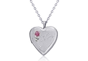 """Sterling Silver """"Mom"""" and Rose Heart Locket Necklace, 18 Inches"""