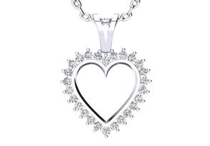 1/2ct Diamond Heart Pendant in White Gold