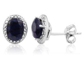 Sapphire Earrings | September Birthstone | 3 Carat Sapphire and Halo Diamond Stud Earrings In Sterling Silver | SuperJeweler