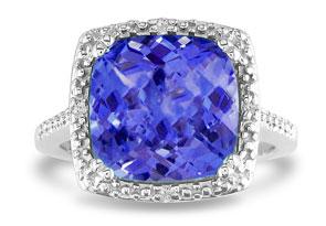4 Carat Created Tanzanite & 4 Diamond Ring