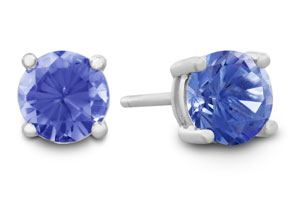 1/2 Carat Tanzanite Stud Earrings in Sterling Silver