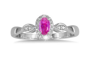 1/2 Carat Created Pink Sapphire & Diamond Ring in Sterling Silver,  by SuperJeweler