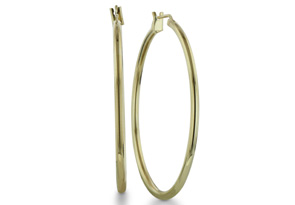 Classic 24 Karat Yellow Gold Overlay Hoop Earrings, 1 1/2 Inches