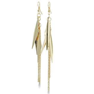 Modern Gold Tone and Chain Dangle Earrings
