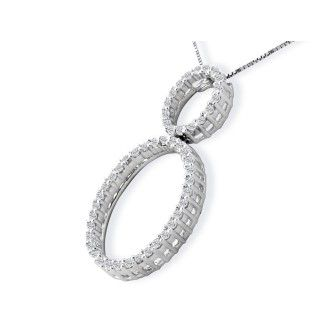1/2ct Double Oval Diamond Pendant in 14k White Gold