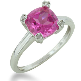 2ct Cushion Cut Created Pink Sapphire and Diamond Ring