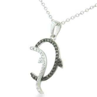 Splashing Black Diamond Dolphin Necklace in Sterling Silver