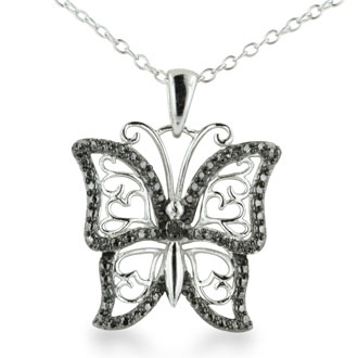 Black Diamond Butterfly Heart Necklace
