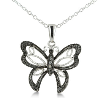 Black Diamond Butterfly Necklace