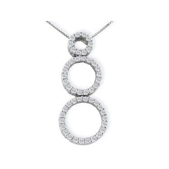 1/2ct Triple Circle Diamond Pendant in 14k White Gold, 4 Star