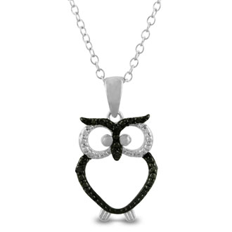 Black Diamond Owl Necklace