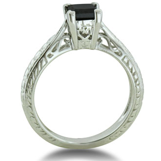 3/4ct Princess Cut Black Diamond Solitaire Antique Model Engagement Ring in Sterling Silver, Ring Sizes 5 to 8.5