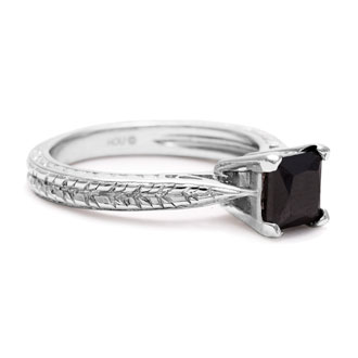 1ct Princess Cut Black Diamond Solitaire Antique Model Engagement Ring