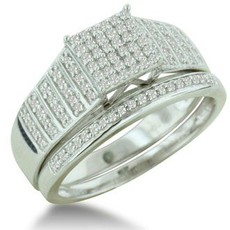 1/3ct Big Looking Princess Shaped Center Engagement Ring Diamond Bridal Set in Sterling Silver