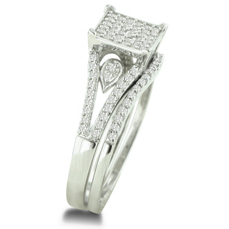 1/3 Carat Total Diamond Weight Micropave Set Bridal Set In Solid Sterling Silver.  Very Pretty