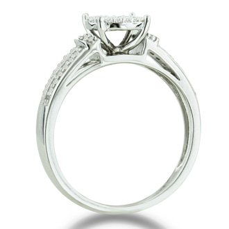 1/3ct Big Looking Round Center Diamond Engagement Ring Bridal Set