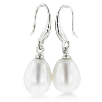 Huge 8-9mm Solitaire White Drop Freshwater Pearl Dangle Earrings