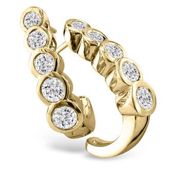 3/4ct Bezel Set Journey Diamond Hoop Earrings in 14k Yellow Gold