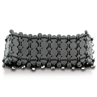 Chunky Super Wide Crystal Studded Mesh Black Cuff Bracelet