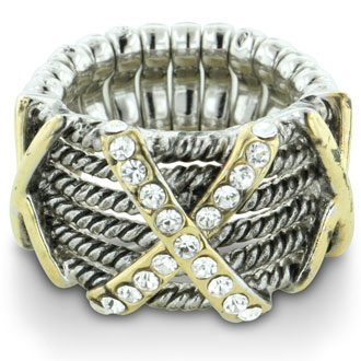 Silver Tone Stretch Twisted Cable Ring with Crystal Studded X Accent, Fits Finger Sizes 7-9