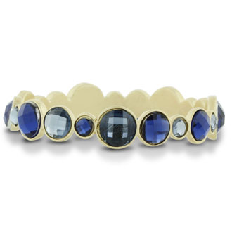 Round Bezel Gold Tone Bangle Bracelet with Shimmering Blue Crystals, Fits Wrist Sizes 7-8