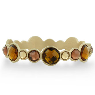 Round Bezel Gold Tone Bangle Bracelet with Shimmering Brown Crystals, Fits Wrist Sizes 7-8