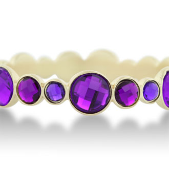 Round Bezel Gold Tone Bangle Bracelet with Shimmering Purple Crystals, Fits Wrist Sizes 7-8