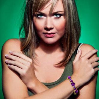 Round Bezel Gold Tone Bangle Bracelet with Shimmering Purple Crystals, Fits Wrist Sizes 7-8