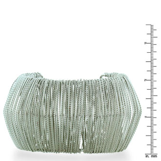Futuristic Wire Wrapped Chunky Silver Plated Cuff Bracelet, 6.5 to 8 inches
