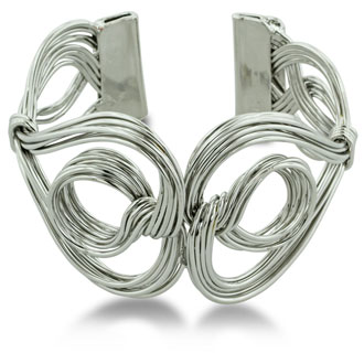 Beautifully Crafted Twisted Solid Wire Double Heart And Circle 1 1/2 Inch Wide Cuff Bracelet, Fits 6.5 To 8 Inch Wrist
