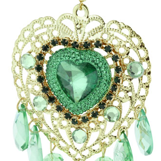 Oversized Gold Tone Heart Chandelier Earrings with Green Crystals, 3 Inches Long