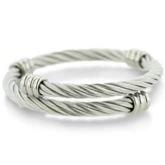 Women's Twisted Wire Stainless Steel Cuff Bracelet