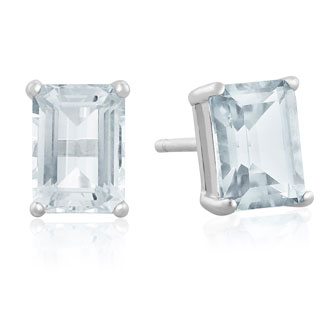 2 ½ Carat Emerald Cut Aquamarine Earrings