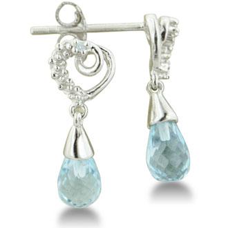 1ct Sky Blue Topaz Drop And Diamond Earrings In Sterling Silver, LAST PAIR!