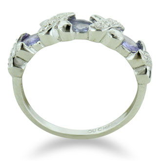 3/4ct Tanzanite And Diamond Ring In Sterling Silver, Size 5