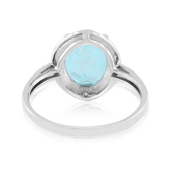 3 1/2ct Blue Topaz And Diamond Ring In Sterling Silver, Ring Sizes Available 5-8
