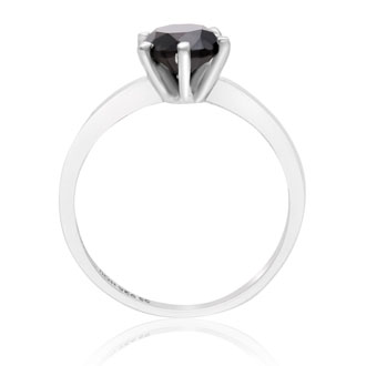 1ct Black Diamond Ring In Sterling Silver