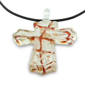 Silver and Red Murano Glass Cross Pendant on  23 Inch Black Leather Cord Necklace