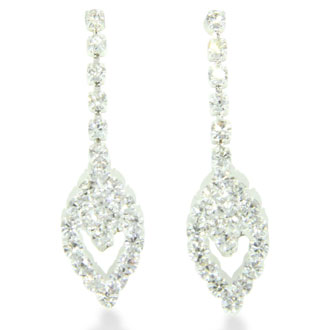 Triple Marquise Rhinestone Necklace and Dangle Earring Bridal Ensemble, With Free Interlocking Heart Bracelet
