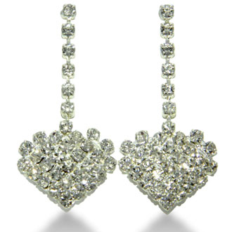 Rhinestone Heart Necklace and Earring Ensemble, With Free Heart Bracelet